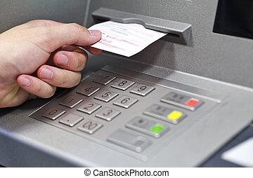 bevétel, blokk, kéz, gép, automated bankpénztáros
