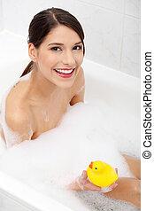 bevétel, nő, duck., sárga, fürdőkád
