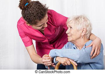 bevétel, nő, senior törődik, ápoló