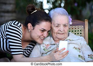 bevétel, nagyanyó, fénykép