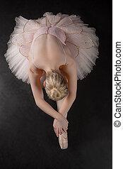 bevallig, ballerina, verbuiging, voorwaarts, tutu, roze