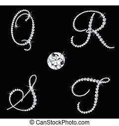 bevallig, diamant, alfabetisch, letters., vector, set, 5