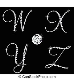 bevallig, diamant, alfabetisch, letters., vector, set, 7