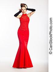 bevallig, newlywed, in, luxueus, trouwfeest, rood, dress.,...