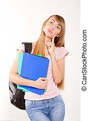 bevallig, vrouwelijke student, met, boekjes , in, handen