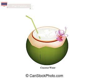 bevanda, acqua noce cocco, famoso, bevanda, tailandia