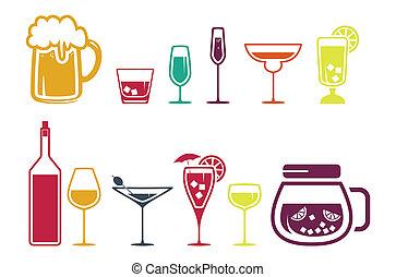 bevanda, bevanda, set, alcool, icone