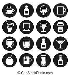 bevanda, bevanda, set, icone