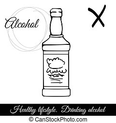 bevanda, contorno, alcolico, simbolo, dannoso, vettore, icon., bibite