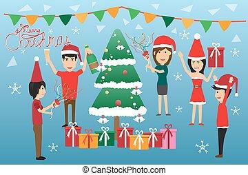 bevanda, ditta, illustration., banchetto, concetto, vettore, festa, donna, vector., festa, divertimento, corporativo, natale, celebration., uomo