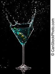 bevanda, isolato, sfondo nero, schizzo, martini