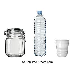 bevanda, lar, bottiglia di plastica, tazza, bevanda caffè