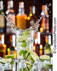 bevanda, mojito, contatore, sbarra, cocktail