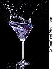 bevanda, nero, isolato, fondo, martini