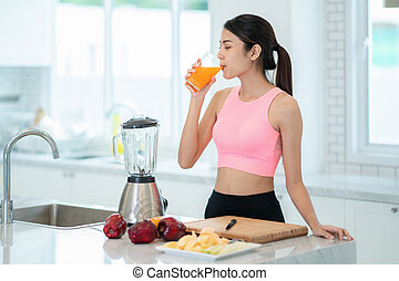 bevanda sana, frutta, asiatico, mescolato, signora