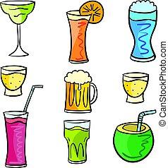bevanda, scarabocchiare, progetto serie, collezione