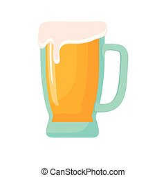 bevanda, schiuma, vetro birra, tazza, freddo
