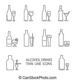 bevanda, set, alcool, icone