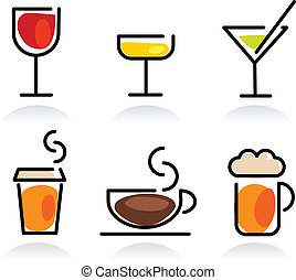 bevanda, set, colorito, icona