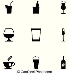 bevanda, set, icone