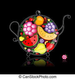 bevanda, teiera, frutta, disegno, nero, tuo