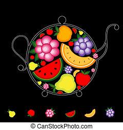 bevanda, tuo, frutta, nero, disegno, teiera