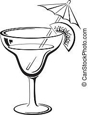 bevanda, vetro, nero, pictogram