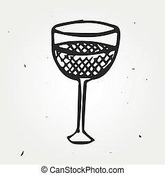 bevanda, vetro, vettore, disegnato, mano