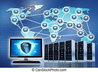 beveiligd, intenet, netwerk