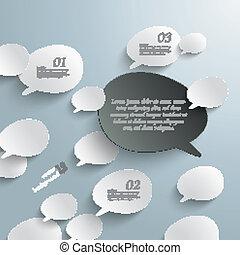 Bevel Speech Bubbles Black Opinion Infographic Design