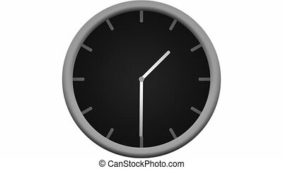 Time-lapse loop of an animated black and gray beveled clock counting down 12 hours over the span of 30 seconds.
