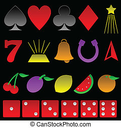 Beveled gambling symbols - Collection of basic gambling...