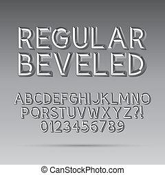 Beveled Outline Font and Digit