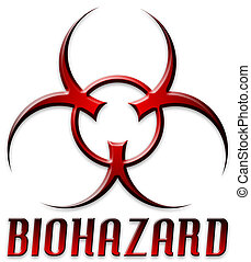 Beveled Red Biohazard Logo - Danger! BIOHAZARD
