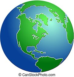Bevelled globe design featuring north America.