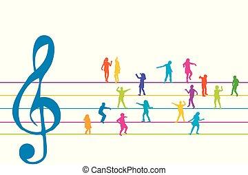 bever, gyerekek, hangjegykulcs, színes, tánc