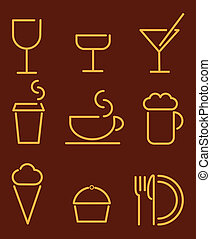 beverage and food set icons
