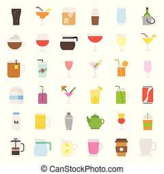 beverage and glass set, flat icon vector