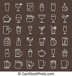 beverage and glass set, outline icon vector