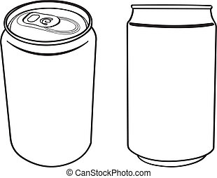 beverage can outline vector - vector illustration of blank...
