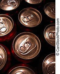beverage can tops - Macro shot of the tops of a bunch of...