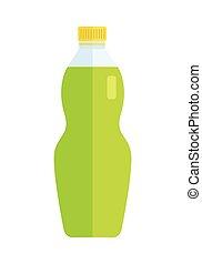 beverage., dolce, plastica, vetro, verde, bottiglia, o
