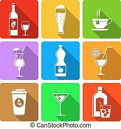 Beverage flat design icons
