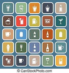Beverage flat icons on blue background