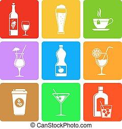 Beverage flat icons