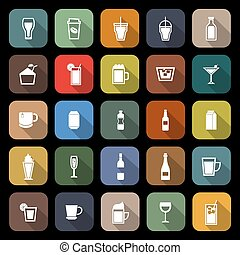 Beverage flat icons with long shadow