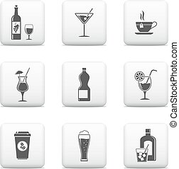 Beverage icons, vector web buttons