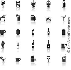 Beverage icons with reflect on white background