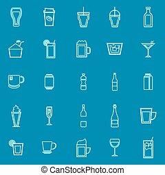 Beverage line color icons on blue background