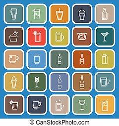 Beverage line flat icons on blue background